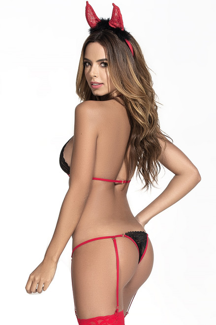 Shop this sexy devil costume linerie with thong teddy