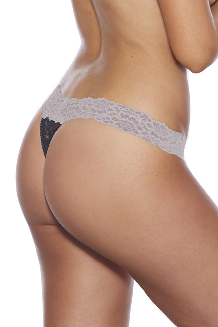 Shop this lilac waistband and black lace thong panty