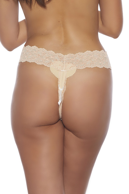 Shop this cream stretch lace thong panty with open crotch