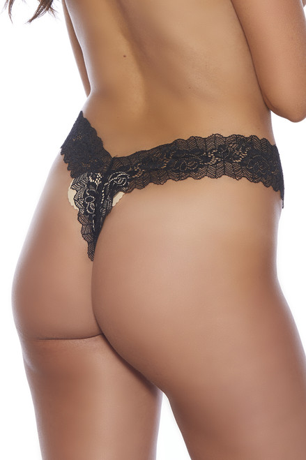 Shop this black lace thong panty