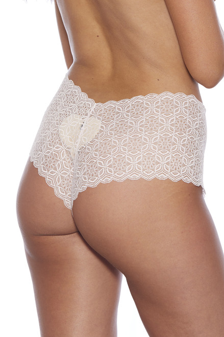 Shop this pink lace crotchless boyshort panty