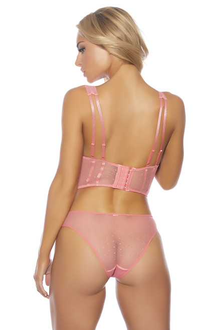 Shop this pink bustier lingerie set with mesh panty and lace top