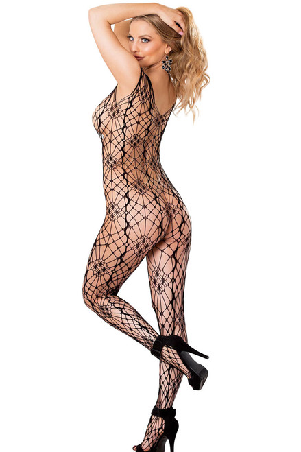 black bodystocking, full bodystocking with cap sleeves,