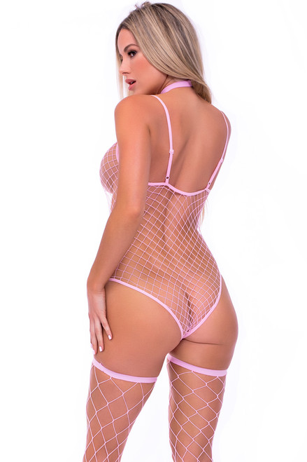 pink fishnet bodysuit with choker, pink choker bodysuit