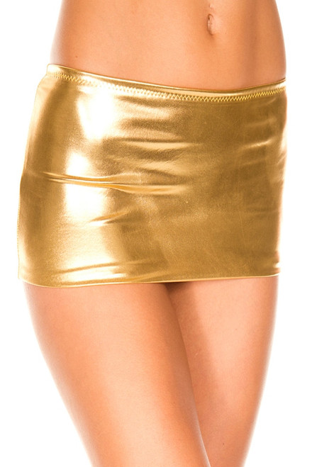 Women's sexy gold vinyl mini skirt