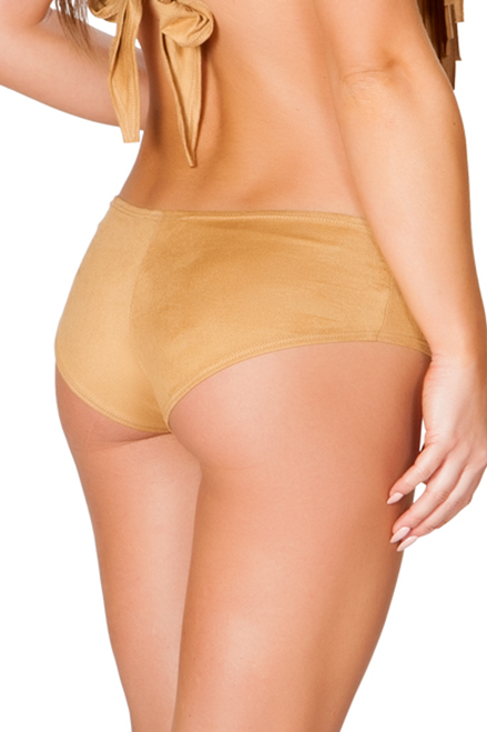 Shop J Valentine honey tan festival and fave hipster faux suede booty shorts back image