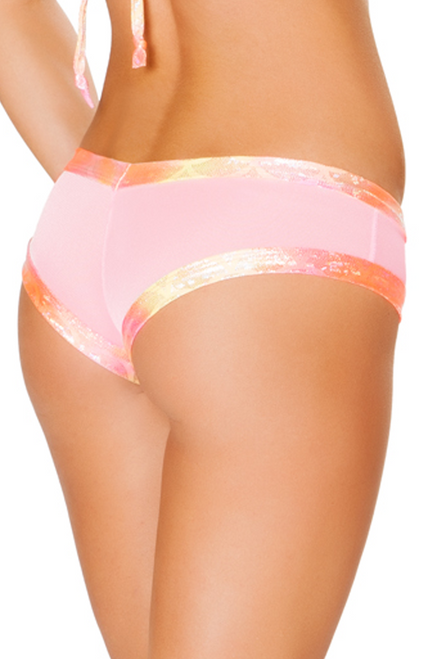 Shop J Valentine baby pink mesh hologram booty shorts with koi pink trim for rave and festival wear back image