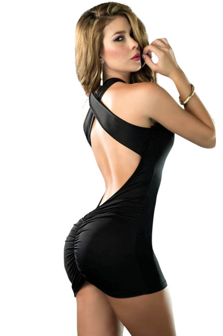 Shop women's sexy little black club wear dress with criss cross shoulder straps and front and back ruching.