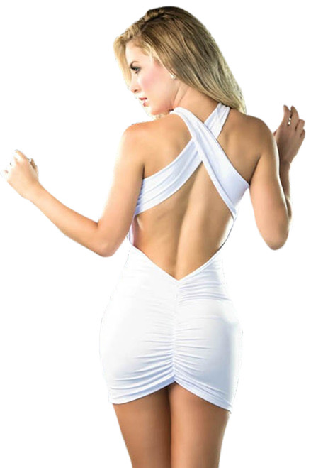 Shop women's sexy white short club wear dress with criss cross shoulder straps and front and back ruching.