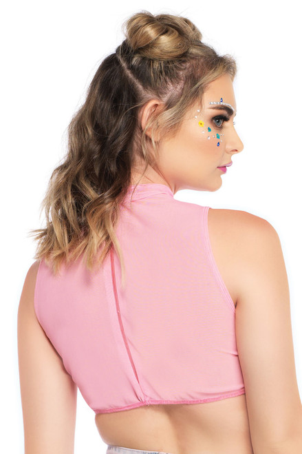 Shop this women's pink sheer mesh sleeveless high neck crop top with rainbow pattern for rave and festival wear