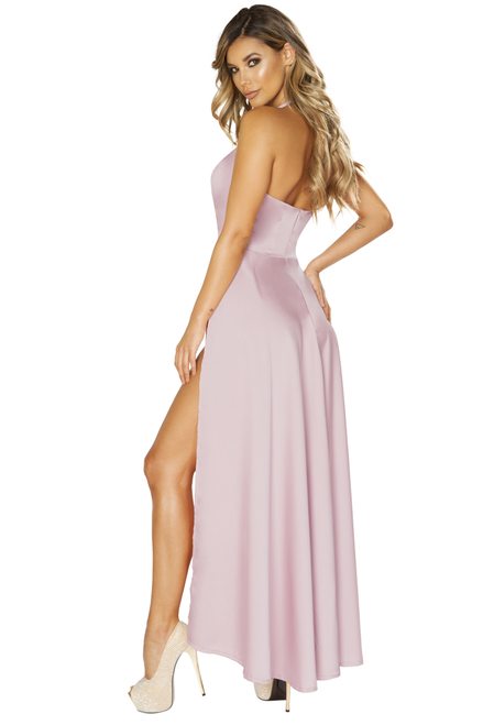 Shop this women's sexy blush pink maxi floor length dress with sexy high slits
