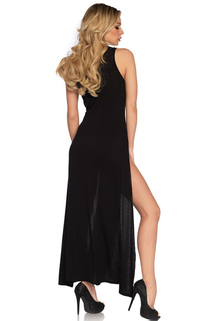 Shop this sexy vacation dress that features a long black maxi dress with dual high slit sides