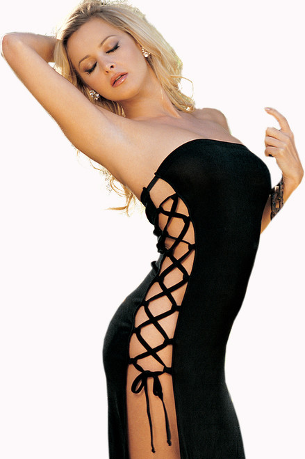 Shop this long black beach dress perfect as a sexy vacation dress with dual lace up sides and strapless detail
