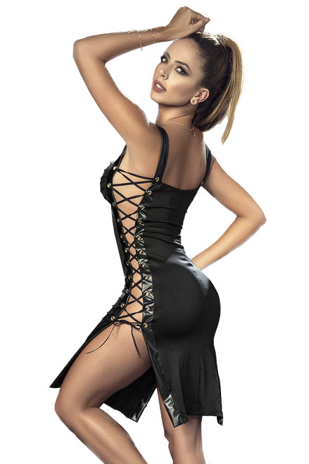 Shop this black mini dress with open lace up sides