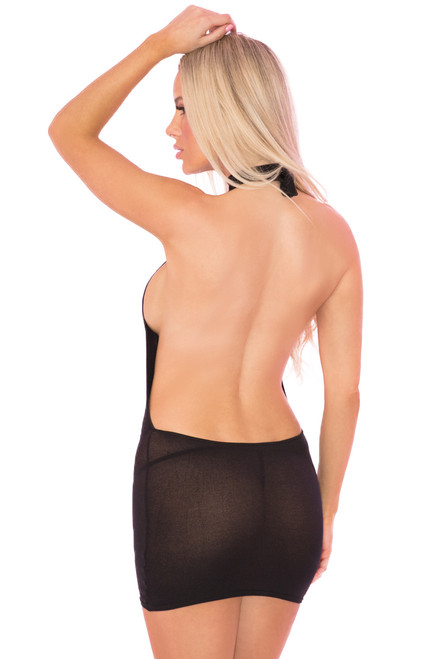 see through open back dress, sexy black dress, sexy sheer black dress
