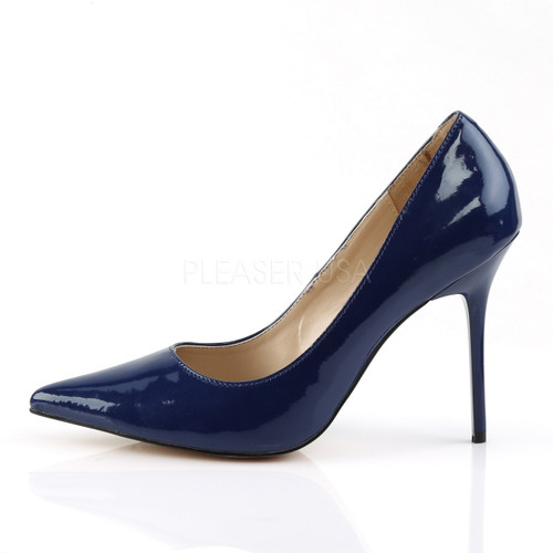 "Pleaser Shoes, pointed-toe pump and navy blue patent, Navy, 4"" heel"