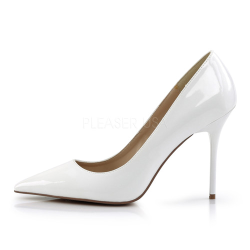 "Pleaser Shoes, pointed-toe pump, White, 4"" heel"