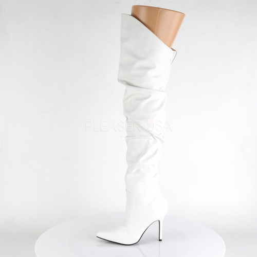 Pleaser Shoes - Women's faux leather pointed 4 inch white over the knee long boots