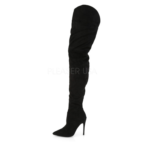Pleaser Shoes - faux suede 5 inch black thigh high boots