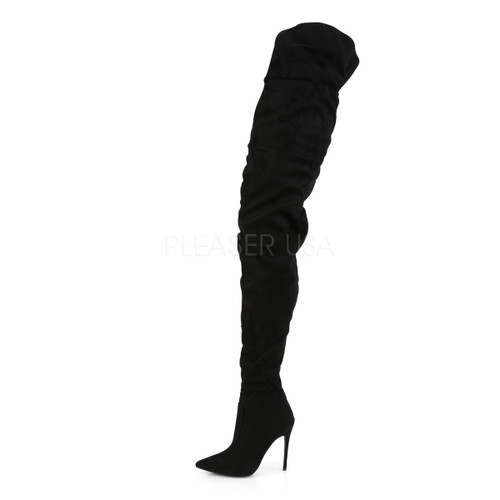 Pleaser Shoes - faux suede crotch high 5 inch black thigh high boots