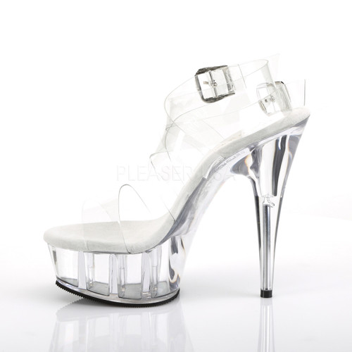 """Pleaser Shoes - 6 inch stiletto sexy clear sandal shoes with a 1.8"""" platform."""