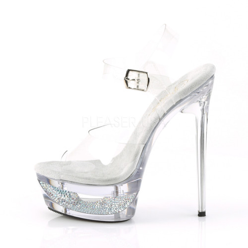 """Pleaser Shoes -Sexy clear 6.5 inch stiletto stripper pumps with ankle strap 1.8"""" platform."""