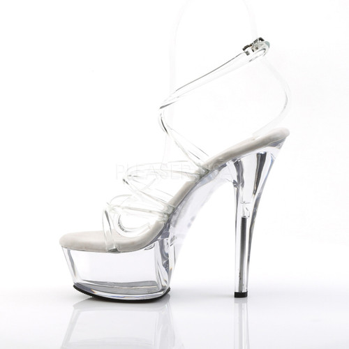 """Pleaser Shoes -Sexy clear 6 inch heel pole dancing high heels with 1.8"""" platform."""