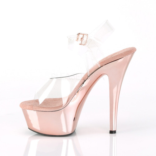 """Pleaser Shoes -Sexy clear/rose gold 6 inch stiletto stripper heels with ankle strap 1.8"""" platform."""
