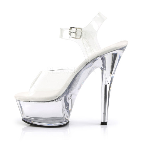 """Pleaser Shoes - Women's clear 6 inch heel exotic dancer heels featuring ankle strap 1.8"""" platform."""