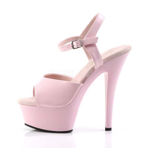 "Pleaser Shoes - Women's sexy baby pink 6 inch heel pole dancing heels with ankle strap 1.8"" platform."