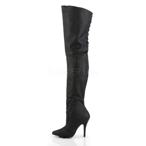 Pleaser Shoes - thigh boot w/ lacing detail 5 inch black over the knee boots