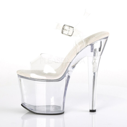 """Pleaser Shoes - Women's sexy clear 7 inch heel pole dancing heels with ankle strap 3.3"""" platform."""