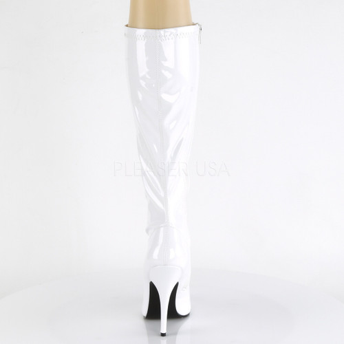 "White knee high heel boots - 5"" heel with no platform"