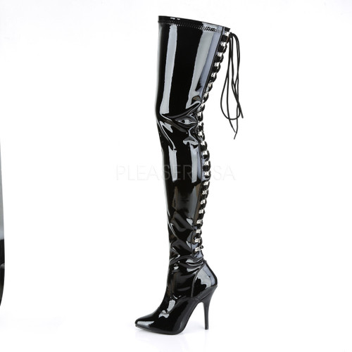 Pleaser Shoes - Women's open back d-ring thigh 5 inch black tall thigh high boots