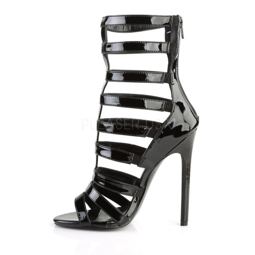 """0"""" platform black strappy sandal booties with 5 inch"""
