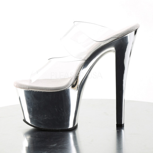 """Pleaser Shoes -Sexy clear 7 inch heel stripper pumps with 2.8"""" platform."""