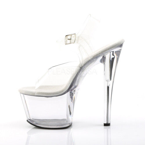 """Pleaser Shoes - Women's sexy clear 7 inch heel stripper shoes with ankle strap 2.8"""" platform."""