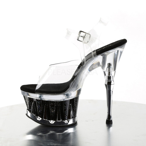 """Pleaser Shoes - Women's sexy clear/black 6.5 inch heel exotic dancer high heels featuring ankle strap 2.8"""" platform."""