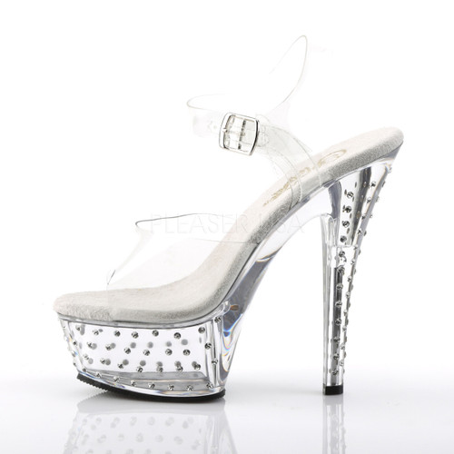 """Pleaser Shoes - Women's sexy clear 6 inch heel stripper pumps with ankle strap rhinestone 1.8"""" platform."""
