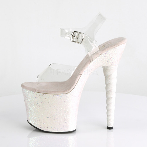 """Pleaser Shoes -Sexy clear/pink 7 inch heel stripper pumps with ankle strap 3.3"""" platform."""