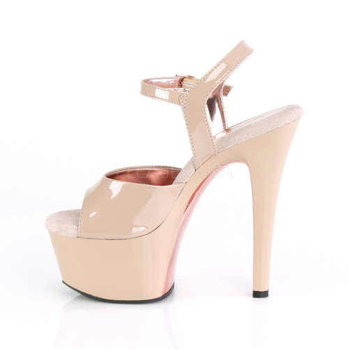 "Pleaser Shoes -Sexy beige 6 inch heel pole dancing heels with ankle strap 2.3"" platform."