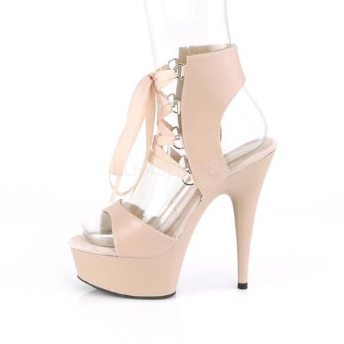 """1.8"""" platform beige lace-up faux leather sandal booties with 6 inch heel"""