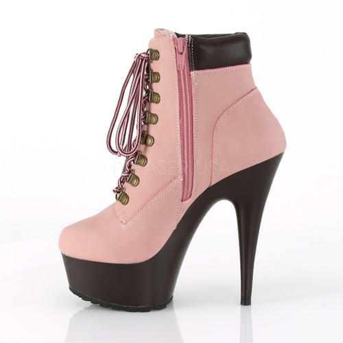 """Women's sexy 1.8"""" platform baby pink lace-up faux leather ankle boots with 6 inch spike heel"""
