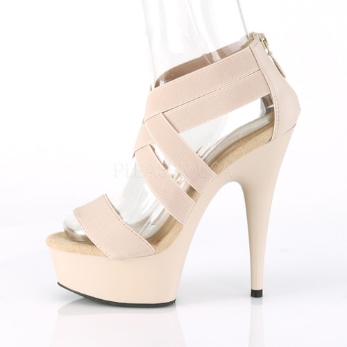 "Pleaser Shoes - 6 inch heel sexy women's beige faux leather sandal shoes with a 1.8"" platform."