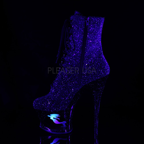 "2.8"" platform black/purple glitter lace-up booties with 7 inch heel"