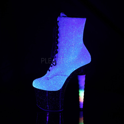 "Pleaser Shoes - 7 inch heel women's purple/blue platform lace-up ankle boot shoes with a 3.3"" platform."