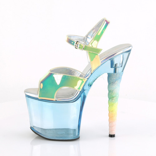 """Pleaser Shoes -Sexy blue 7 inch heel stripper pumps with ankle strap 3.3"""" platform."""