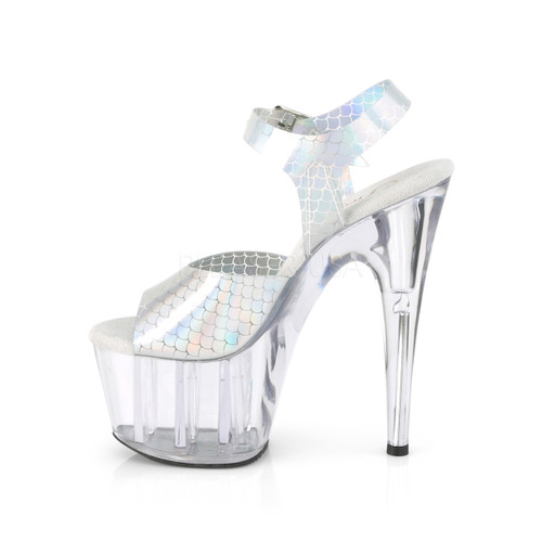 """Pleaser Shoes - Women's clear/white 7 inch heel pole dancing heels featuring ankle strap 2.8"""" platform."""