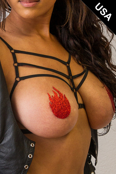Shop women's red glitter flame nipple cover pasties.