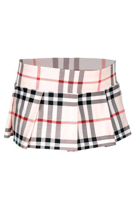 Shop this women's adult school girl outfit brown burberry plaid mini skirt with pleated detail